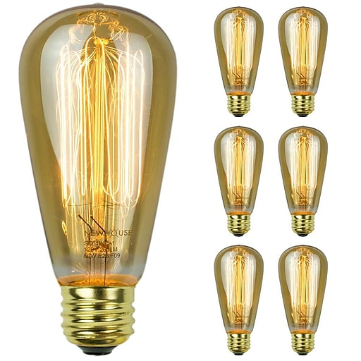 Newhouse Lighting ST64 Vintage Incandescent Bulb 60W 6 Pack ST64INC