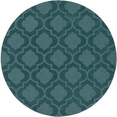 Varick Gallery Castro Teal Geometric Zara Area Rug; Round 6'