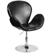 Varick Gallery Collier Reception w/ Adjustable Height Seat Leather Lounge Chair; Black