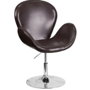 Varick Gallery Collier Reception w/ Adjustable Height Seat Leather Lounge Chair; Brown