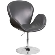 Varick Gallery Collier Reception w/ Adjustable Height Seat Leather Lounge Chair; Gray