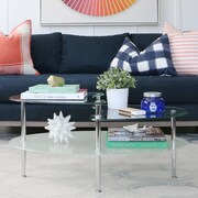 Varick Gallery Cate Glass Oval Coffee Table