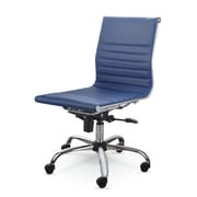 Varick Gallery Catchings Leather Desk Chair; Blue