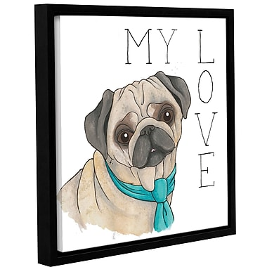 Varick Gallery 'Puppy Love Pug Color' Framed Print on Canvas; 24'' H x 24'' W x 2'' D