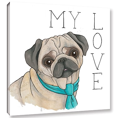 Varick Gallery 'Puppy Love Pug Color' Print on Canvas; 18'' H x 18'' W x 2'' D