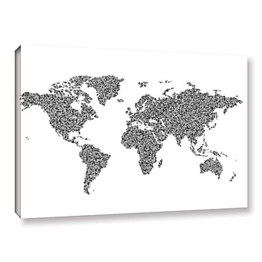 Varick Gallery 'Text World Map 3' Graphic Art Print on Canvas; 8'' H x 12'' W x 2'' D