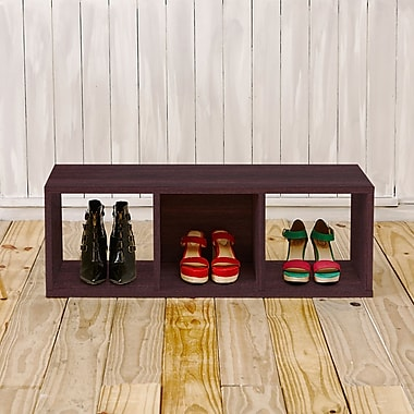 Varick Gallery Andrade Bench 12.8'' Eco 3-Cubby Storage Bench and Stackable Organizer; Espresso
