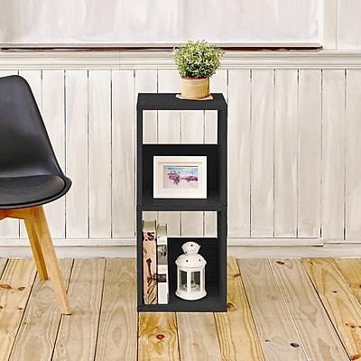 Varick Gallery Andrade Duo Eco 2-Shelf Narrow 30'' Cube Unit Bookcase; Black
