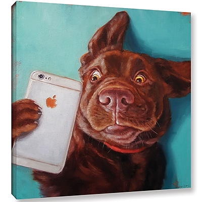 Varick Gallery 'Dog Selfie' Graphic Art Print on Canvas; 14'' H x 14'' W x 2'' D
