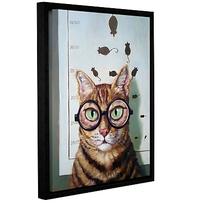 Varick Gallery 'Feline Eye Exam' Framed Graphic Art Print on Canvas; 18'' H x 14'' W x 2'' D