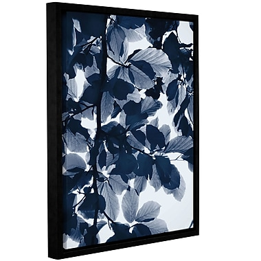 Varick Gallery 'Indigo Leaves' Framed Graphic Art Print on Canvas; 10'' H x 8'' W x 2'' D