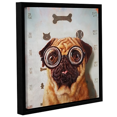 Varick Gallery 'Canine Eye Exam' Framed Graphic Art Print on Canvas; 14'' H x 14'' W x 2'' D