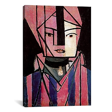 Varick Gallery White and Pink Head Painting Print on Wrapped Canvas; 40'' H x 26'' W x 1.5'' D