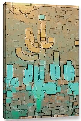 Varick Gallery 'Modern Saguaro Cyan' Graphic Art Print on Canvas; 18'' H x 12'' W x 2'' D