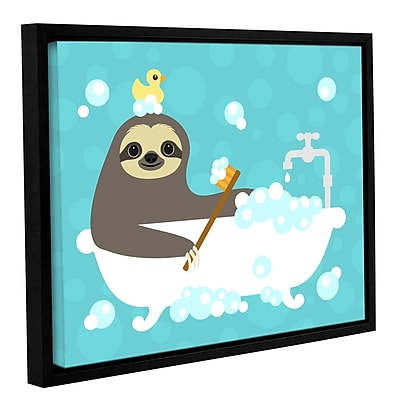 Varick Gallery 'Scrubbing Bubbles Sloth' Framed Graphic Art Print On Canvas; 8'' H x 10'' W x 2'' D