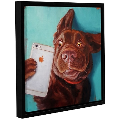 Varick Gallery 'Dog Selfie' Framed Graphic Art Print on Canvas; 36'' H x 36'' W x 2'' D