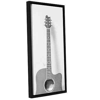 Varick Gallery 'Grayscale Acoustic Guitar' Framed Painting Print On Canvas; 24'' H x 12'' W x 2'' D