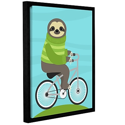 Varick Gallery 'Cycling Sloth' Framed Graphic Art Print On Canvas; 18'' H x 14'' W x 2'' D