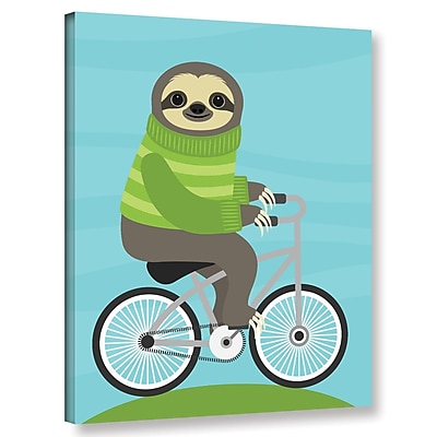 Varick Gallery 'Cycling Sloth' Graphic Art Print On Wrapped Canvas; 10'' H x 8'' W x 2'' D