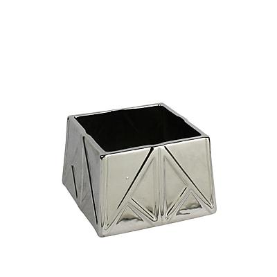 Varick Gallery Silver Decorative Ceramic Table Vase; 4.75'' H x 7'' W x 7'' D
