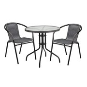 Varick Gallery Fontes Round Glass Metal 3 Piece Dining Set; Gray