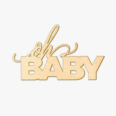 Varick Gallery Oh Baby Wood Sign Wall D cor; 21.5'' H x 36'' W x 0.25'' D
