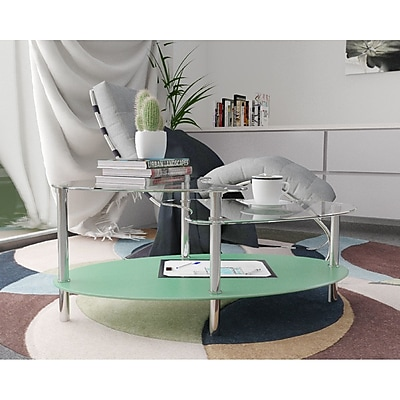 Varick Gallery Hegarty 38'' Oval Two Tier Glass Coffee Table