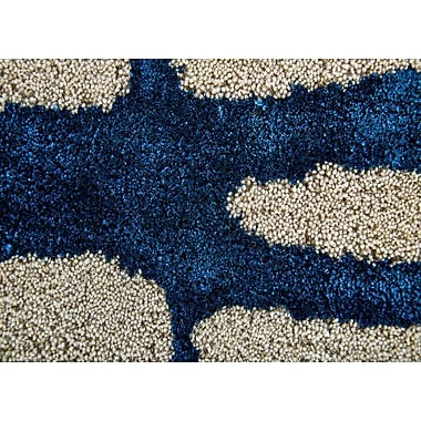 Varick Gallery Heinrich Hand-Tufted Taupe/Navy Area Rug; 2' x 3'