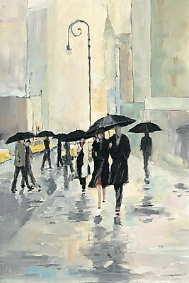 Varick Gallery 'City in The Rain' Painting Print on Wrapped Canvas; 40'' H x 26'' W x 0.75'' D