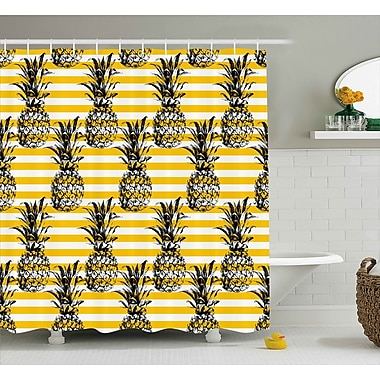 Kassandra Retro Striped Background w/ Pineapple Figures Vintage Hippie Graphic Shower Curtain