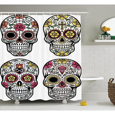 Kayden Day of The Dead Dia De Los Muertos Festive Celebration Skull Art Image Shower Curtain