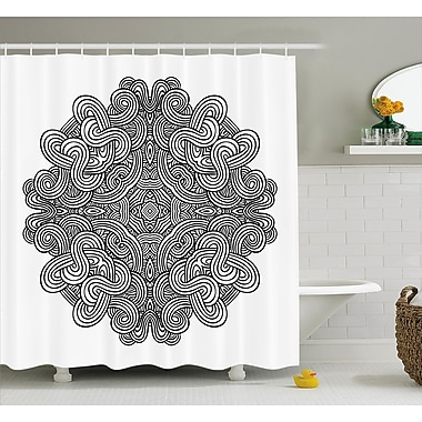 Kearns Circular Ancient Celtic w/ Twisted Spirals and Lines Classic Cultural Print Shower Curtain