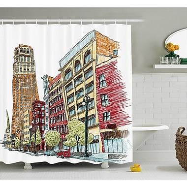 Keen Grunge Graphic of European Avenue Modern Urban Life Downtown City Streets Shower Curtain