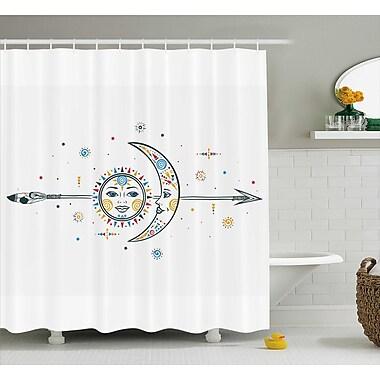 Keenan Ethnic Aztec Moon Sun w/ Spiral Vortex Stars Sparkle Figures Occult Image Shower Curtain