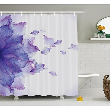 Keenum Flower Abstract Themed Modern Futuristic Image w/ Water Like Colored Art Print Shower Curtain