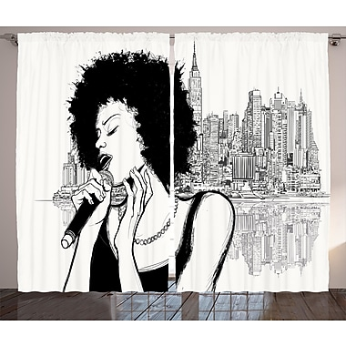 Kerwin Afro Decor Graphic Print and Text Semi-Sheer Rod Pocket Curtain Panels (Set of 2)