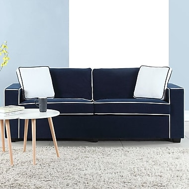 Varick Gallery Arjun Modern Velvet Fabric Sofa; Navy