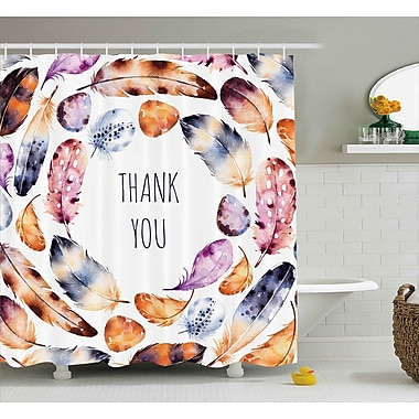Varick Gallery Banister Bird Feathers Thank You Shower Curtain; 69'' W x 70'' L