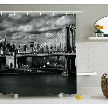 Varick Gallery Benton NYC in Black and White Shower Curtain; 69'' W x 84'' L