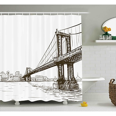 Varick Gallery Benton Urban Cityscape of NYC Shower Curtain; 69'' W x 75'' L