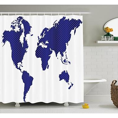 Varick Gallery Berggren World Map Travel Holiday Shower Curtain; 69'' W x 84'' L