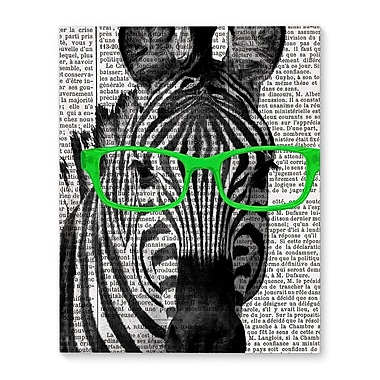 Varick Gallery 'Zebra In The Green Glasses' Graphic Art Print on Canvas; 36'' H x 24'' W x 1.5'' D