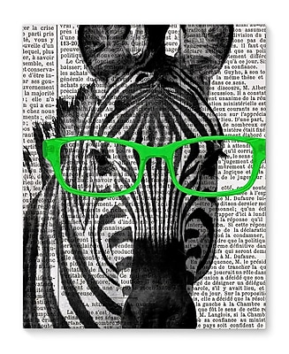 Varick Gallery 'Zebra In The Green Glasses' Graphic Art Print on Canvas; 20'' H x 16'' W x 1.5'' D