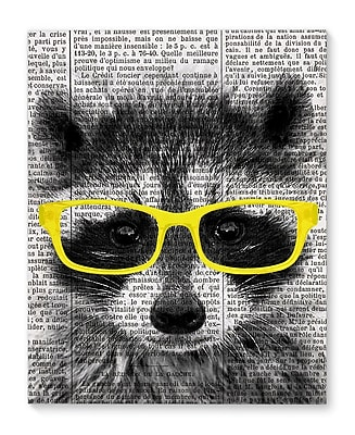 Varick Gallery 'Racoon In Yellow Glasses' Graphic Art Print on Canvas; 20'' H x 16'' W x 1.5'' D