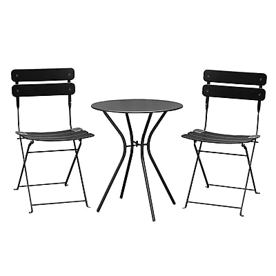 Varick Gallery Bales Outdoor 3 Piece Folding Bistro Set; Black