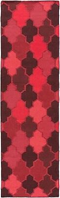 Varick Gallery Crispin Cherry Geometric Area Rug; Runner 2'6'' x 8'