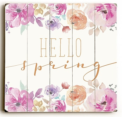 Varick Gallery 'Hello Spring' Textual Art on Wood; 13'' H x 13'' W x 1.5'' D