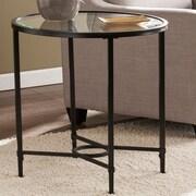 Varick Gallery Dumfries Metal/Glass Oval End Table; Black