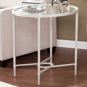 Varick Gallery Dumfries Metal/Glass Oval End Table; Silver