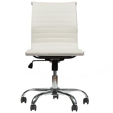 Varick Gallery Crosland Mid-Back Armless Swivel Desk Chair; White